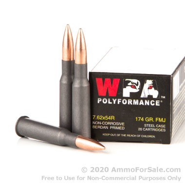 20 Rounds of 174gr FMJ 7.62x54r Ammo by Wolf