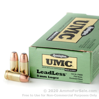 50 Rounds of 124gr FNEB 9mm Ammo by Remington