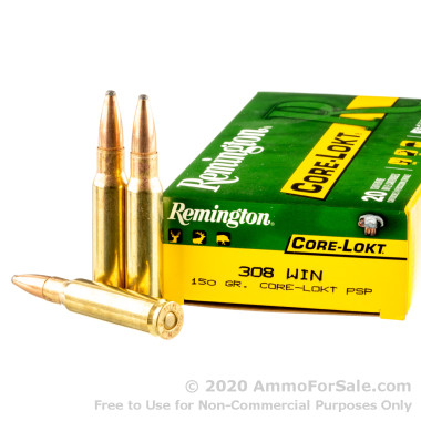 20 Rounds of 150gr PSP .308 Win Ammo by Remington