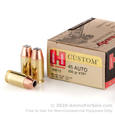 200 Rounds of 200gr JHP .45 ACP Ammo by Hornady