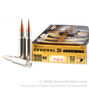 20 Rounds of 150gr TSX Barnes .308 Win Ammo by Federal