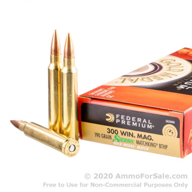 200 Rounds of 190gr HPBT .300 Win Mag Ammo by Federal Gold Medal