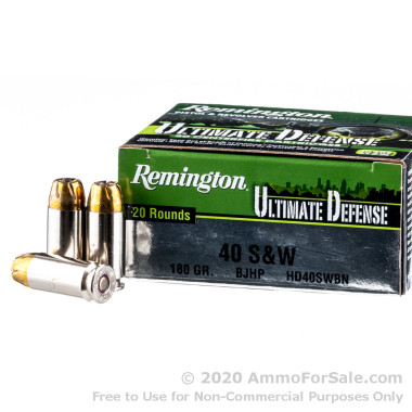 20 Rounds of 180gr JHP .40 S&W Ammo by Remington