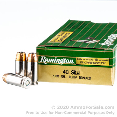 50 Rounds of 180gr JHP .40 S&W Ammo by Remington Golden Saber Bonded