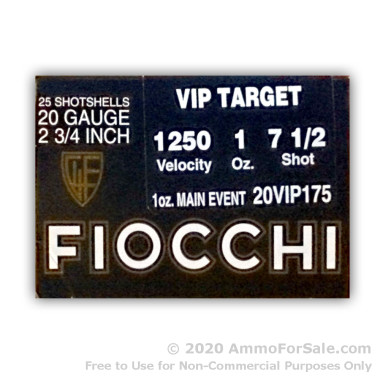 25 Rounds of 1 ounce #7 1/2 shot 20ga Ammo by Fiocchi