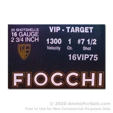 250 Rounds of 1 ounce #7 1/2 shot 16ga Ammo by Fiocchi