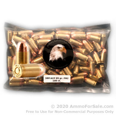 380 ACP Ammo - 95 gr FMJ Ammunition by MBI