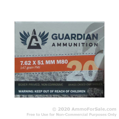 20 Rounds of 147gr FMJ .308 Win Ammo by Guardian Ammunition