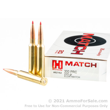 20 Rounds of 225gr ELD Match .300 PRC Ammo by Hornady