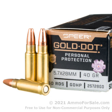 50 Rounds of 40gr JHP 5.7x28mm Ammo by Speer