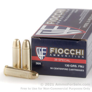 1000 Rounds of 130gr FMJ .38 Spl Ammo by Fiocchi