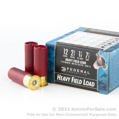 "25 Rounds of 2-3/4"" 1 1/8 ounce #7 1/2 shot 12ga Ammo by Federal Game-Shok"
