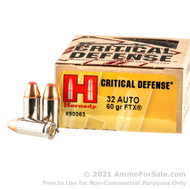 25 Rounds of 60gr FTX .32 ACP Ammo by Hornady