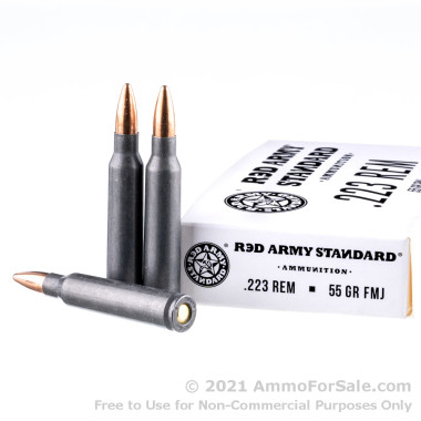 1000 Rounds of 55gr FMJ 223 Rem Ammo by Red Army Standard