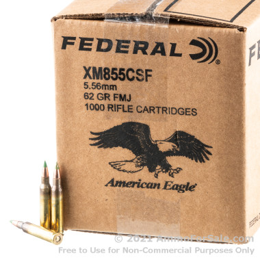 1000 Rounds of 62gr M855 FMJ 5.56x45 Ammo by Lake City