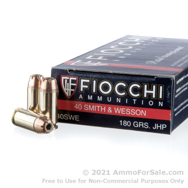 50 Rounds of 180gr JHP .40 S&W Ammo by Fiocchi