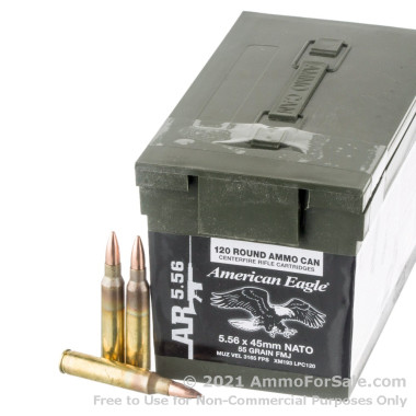 120 Rounds of 55gr FMJBT 5.56x45 Ammo by Federal