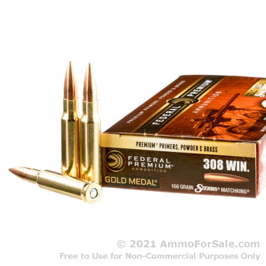 20 Rounds of 168gr HPBT .308 Win Ammo by Federal