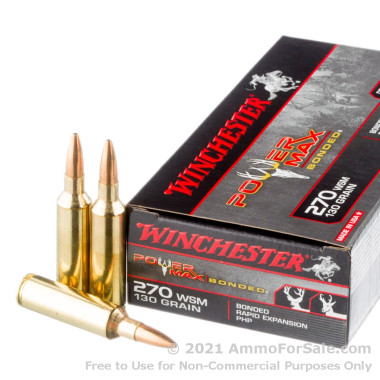 20 Rounds of 130gr HP 270 Win Short Mag Ammo by Winchester Power Max Bonded