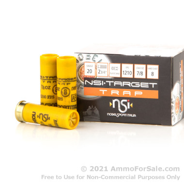 250 Rounds of 7/8 ounce #8 shot 20ga Ammo by NobelSport