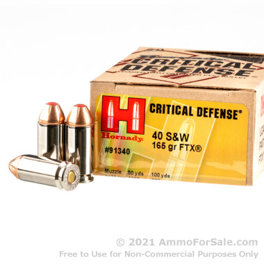 200 Rounds of 165gr JHP .40 S&W Ammo by Hornady