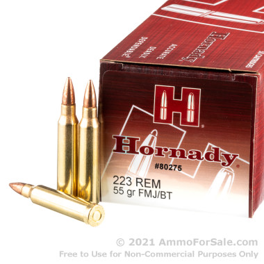 50 Rounds of 55gr FMJBT .223 Ammo by Hornady
