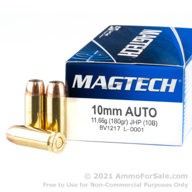 1000 Rounds of 180gr JHP 10mm Ammo by Magtech