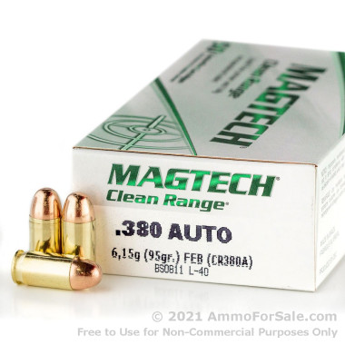 50 Rounds of 95gr FEB .380 ACP Ammo by Magtech