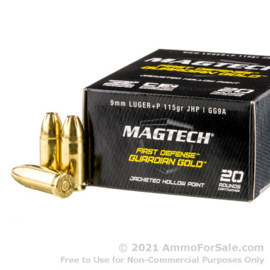 20 Rounds of 115gr JHP 9mm +P Ammo by Magtech Guardian Gold