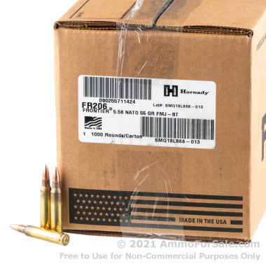 1000 Rounds of 55gr FMJ M193 5.56x45 Ammo by Hornady
