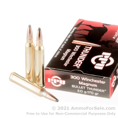 20 Rounds of 170gr PSP .300 Win Mag Ammo by Prvi Partizan Bullet Thunder