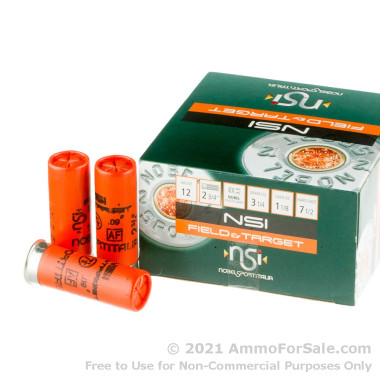 25 Rounds of 1 1/8 ounce #7 1/2 shot 12ga Ammo by NobelSport