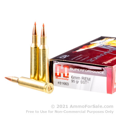 200 Rounds of 95gr SST 6 mm Rem Ammo by Hornady