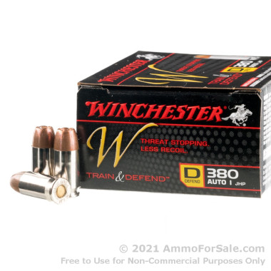200 Rounds of 95gr JHP .380 ACP Ammo by Winchester