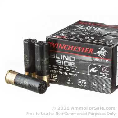 "25 Rounds of 3"" 1 1/8 ounce #3 shot 12ga Ammo by Winchester Blind Side"