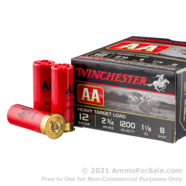 250 Rounds of 1 1/8 ounce #8 heavy shot 12ga Ammo by Winchester AA