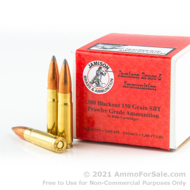 20 Rounds of 150gr SBT .300 AAC Blackout Ammo by Jamison Ammunition