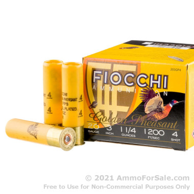 25 Rounds of 1 1/4 ounce #4 shot 20ga Ammo by Fiocchi