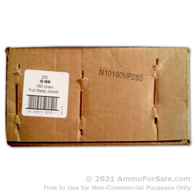 250 Rounds of 180gr FMJ 10mm Ammo by Armscor