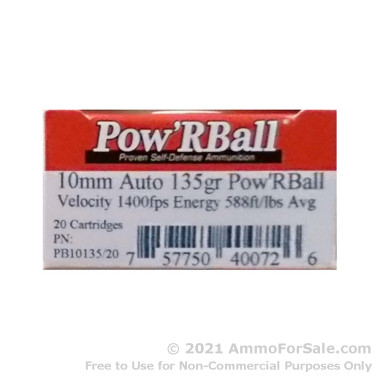20 Rounds of 135gr PowR Ball 10mm Ammo by Corbon