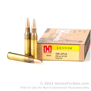 20 Rounds of 250gr SP 338 Lapua Magnum Ammo by Hornady