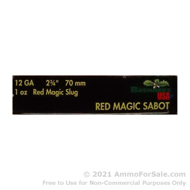 "5 Rounds of 2-3/4"" 1 ounce Sabot Slug 12ga Ammo by Brenneke Red Magic"