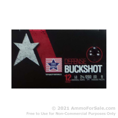 """250 Rounds of 2-3/4"""" 9 Pellet #00 Buck 12ga Ammo by Stars & Stripes"""