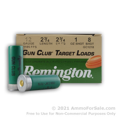 250 Rounds of 1 ounce #8 shot 12ga Ammo by Remington