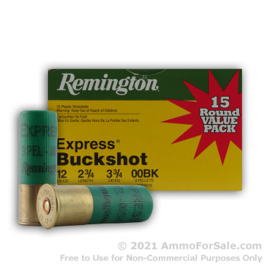15 Rounds of  00 Buck 12ga Ammo by Remington