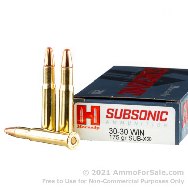 20 Rounds of 175gr Sub-X 30-30 Win Ammo by Hornady