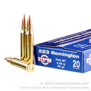20 Rounds of 55gr FMJ .223 Ammo by Prvi Partizan