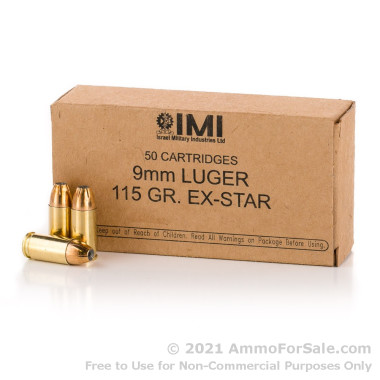 50 Rounds of 115gr JHP 9mm Ammo by Israeli Military Industries