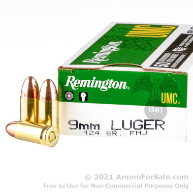 50 Rounds of 124gr MC 9mm Ammo by Remington
