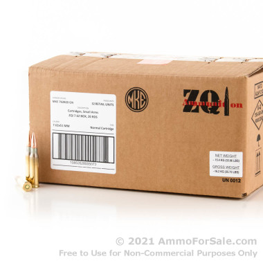 20 Rounds of 147gr FMJ .308 Win Ammo by ZQI Ammunition